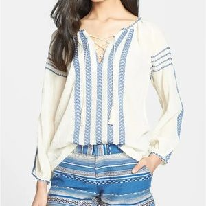 JOIE // 'Calonice' Embroidered Cotton Peasant Top